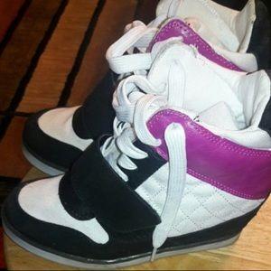 High top wedge heel sneakers